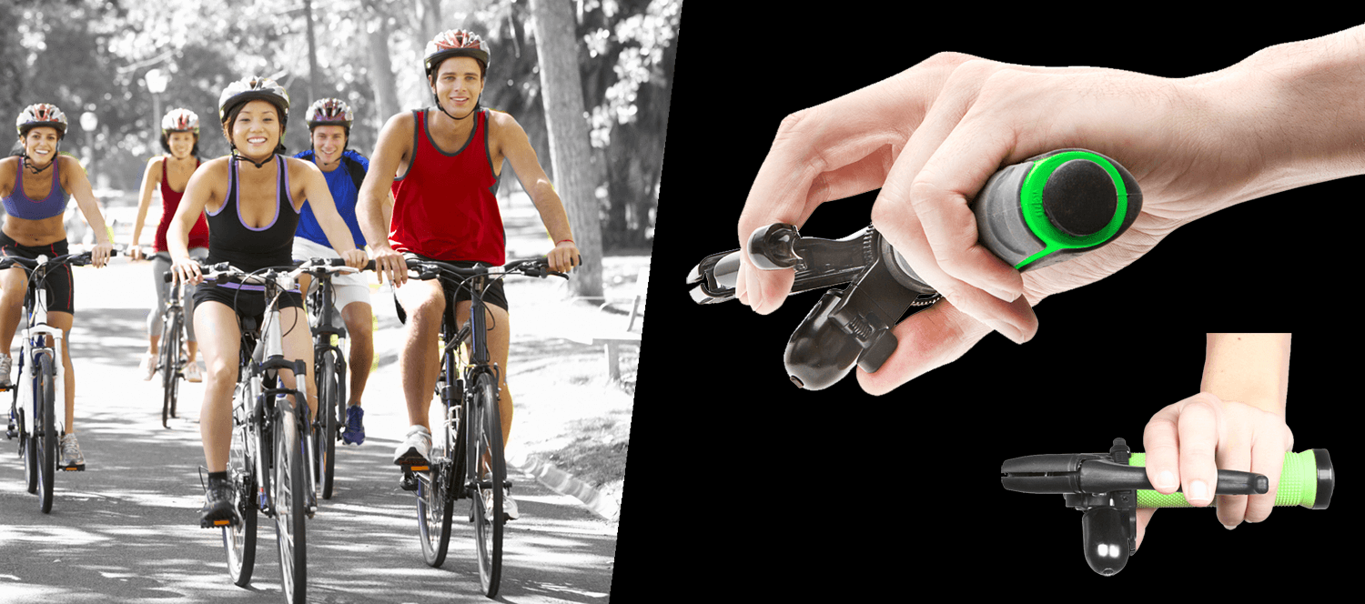 Trigger Bell slider on flats with happy cyclists